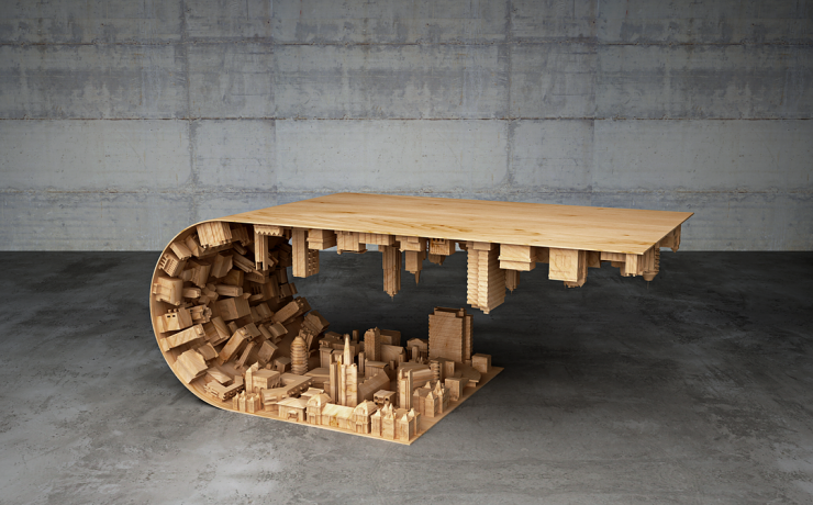 coffee table - city upside down
